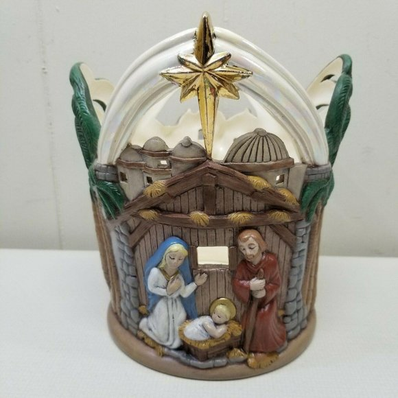 Nativity Crock Planter Christmas Holiday Home Deco